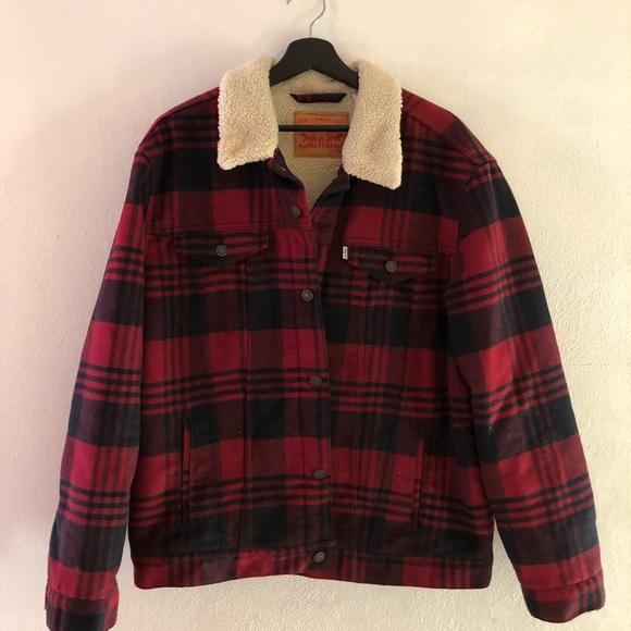 Red Black Flannel Levis Sherpa Jacket